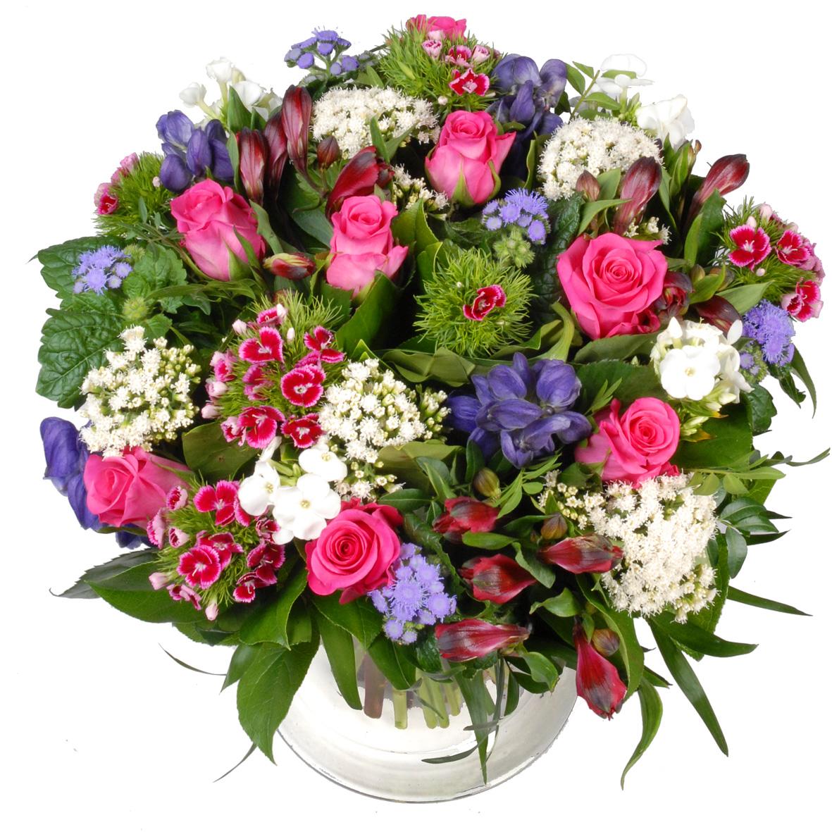 Vaderdag bloemen roze paars wit