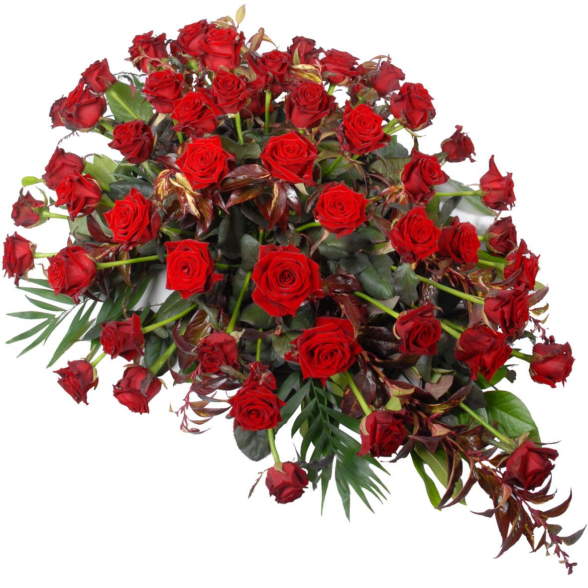 Rouwstuk rode rozen