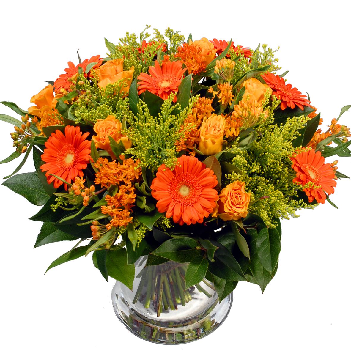 Oranje geel boeket bloemen