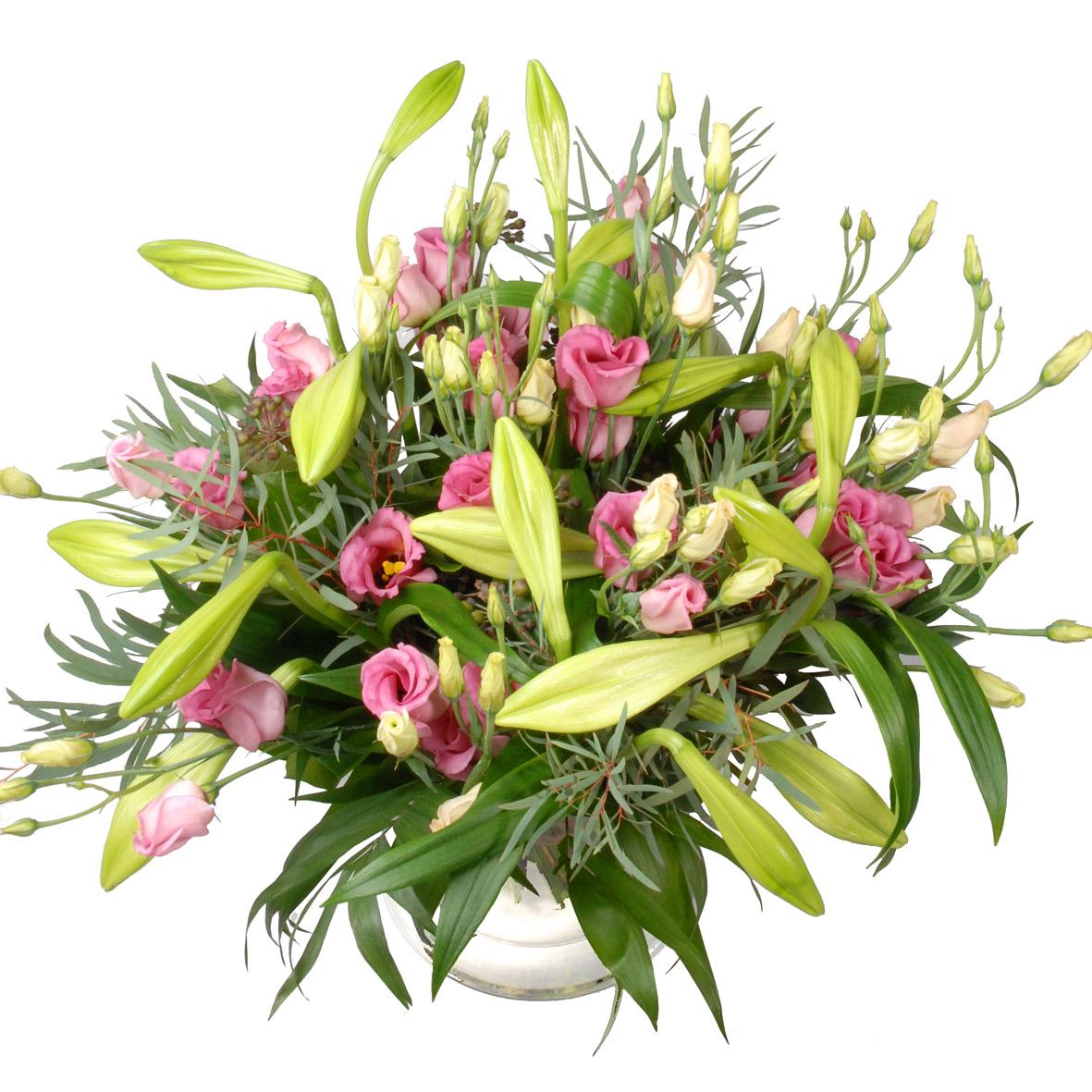 Boeket ( éénvoud ) Witte lelie's en roze bloemen ! kopen doe je bij van der Voort